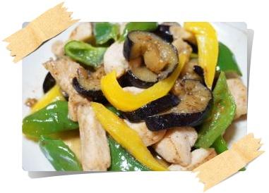 鶏胸肉と夏野菜の甘辛炒め