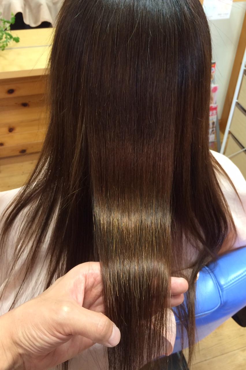 つやつやロングカラー毛の縮毛矯正