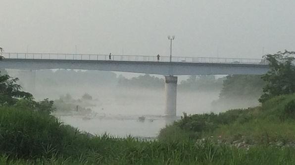 羽村の堰 川霧1