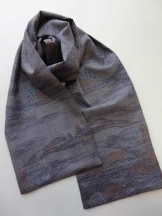 風景画紫大島紬スカーフ