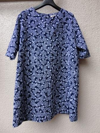 藍色浴衣ヨークチュニック