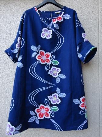 椿柄浴衣ワンピース1