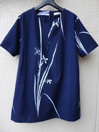 藍染菖蒲浴衣チュニック2