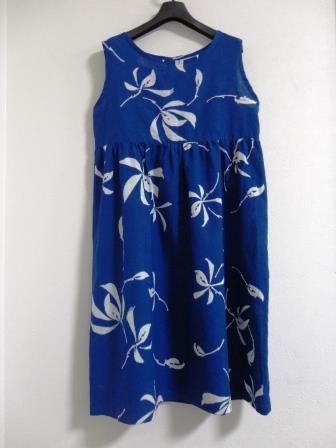 青色花柄浴衣ノースリーブop