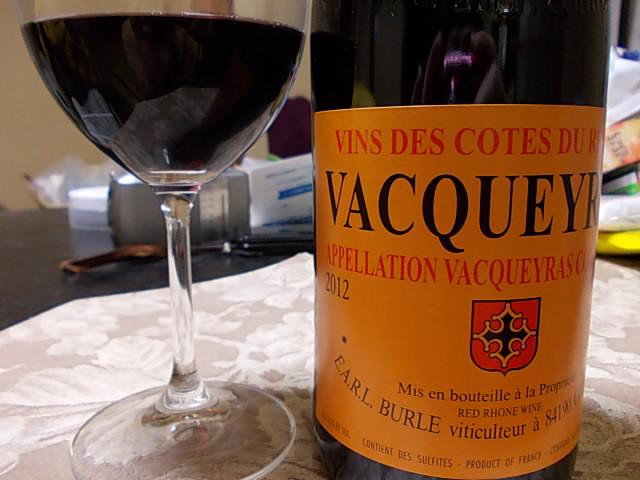 Wine Burle Vacqueyras 2012 20140420