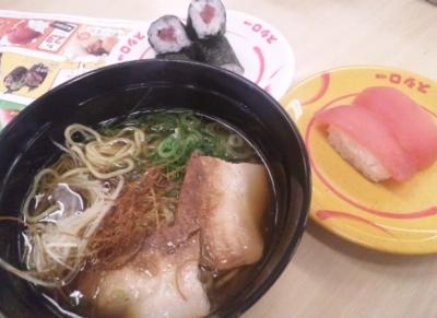 140517スシロー豊南店出汁入り鶏がら醤油ラーメン280円マグロ100円