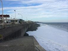 波しぶきが風に飛ばされて、海岸がうっすらけぶって見える。 #海 #海photo