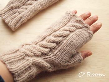 ニット指なし手袋
