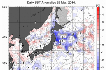 気象庁 海水温・海流のデータ 日本近海 日別海面水温