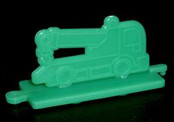 コリス フエラムネのおまけ クレーン車スタンプ(緑)