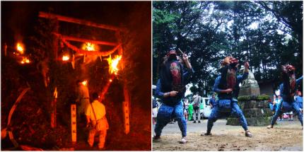 滝尻棒ささらと愛宕神社の松明祭り1