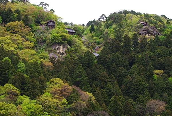 山寺を見上げる