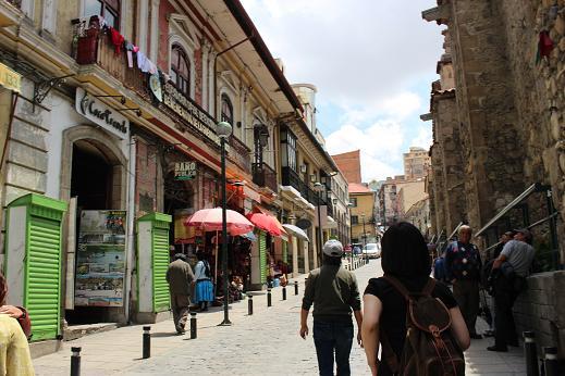 ボリビア・ペルー旅行:ラパス旧市街 サガルナガ通り