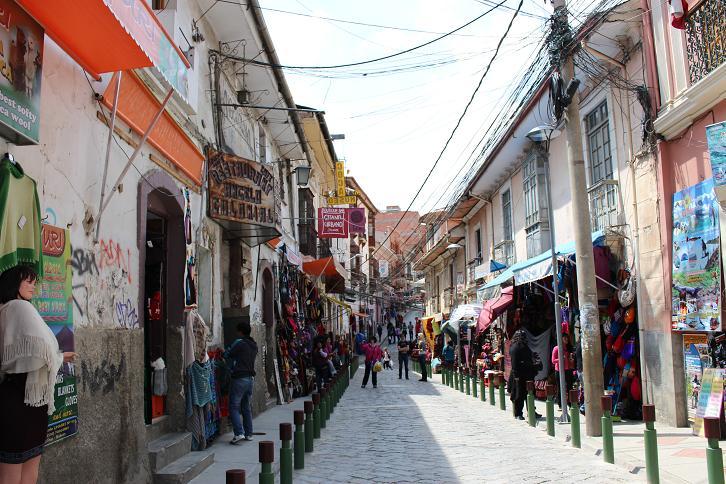 ボリビア・ペルー旅行:ラパス旧市街 サガルナガ通り2