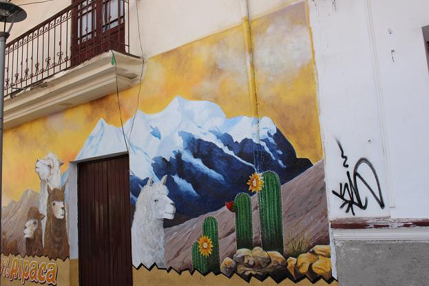 ボリビア・ペルー旅行:ラパス旧市街 サガルナガ通り 壁画