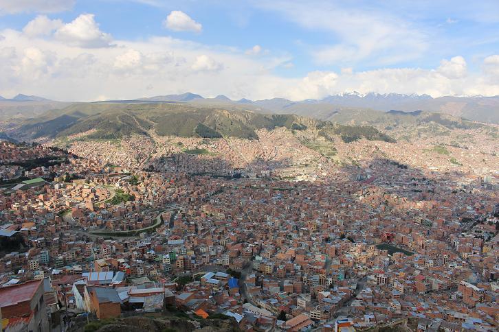 ボリビア・ペルー旅行:ラパス すり鉢 景色