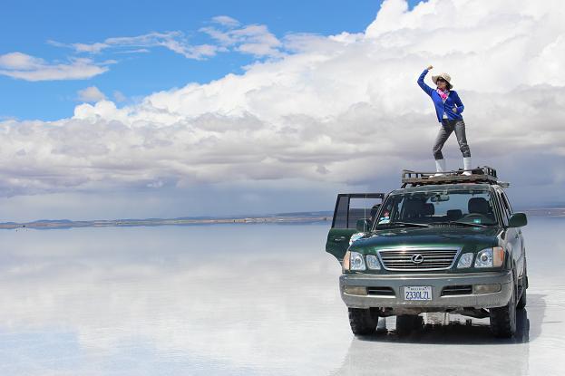 ボリビア・ペルー旅行:ウユニ塩湖 4WD 荷台 1人