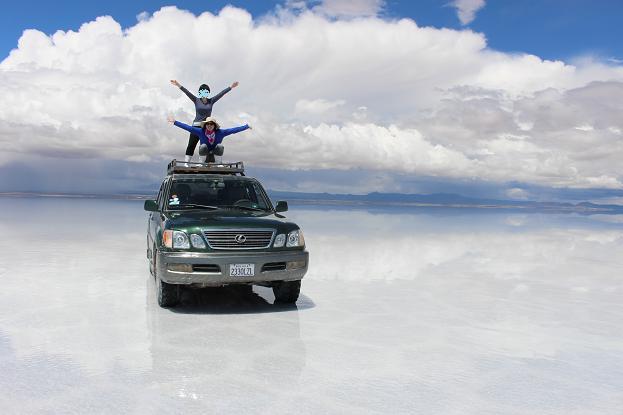 ボリビア・ペルー旅行:ウユニ塩湖 4WD 荷台 2人2