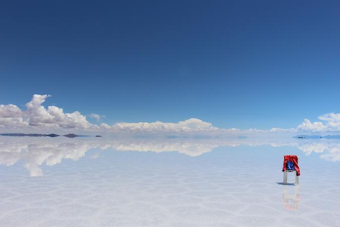 ボリビア・ペルー旅行:ウユニ塩湖 鏡張り 服