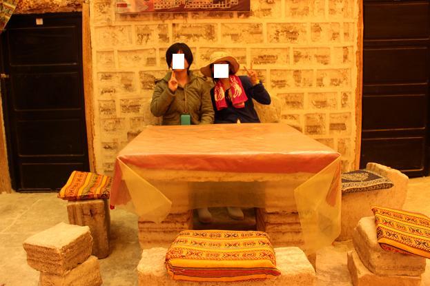 ボリビア・ペルー旅行:ウユニ塩湖 塩の建物 テーブル