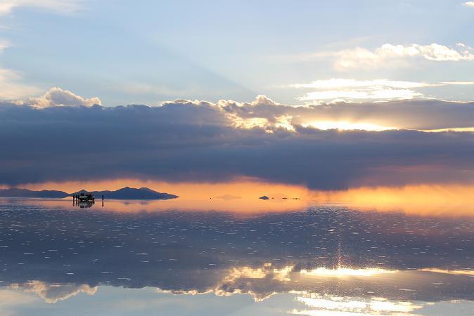 ボリビア・ペルー旅行:ウユニ塩湖 サンセット
