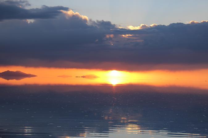 ボリビア・ペルー旅行:ウユニ塩湖 サンセット 太陽