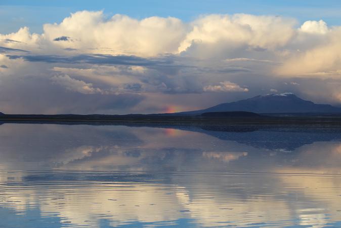 ボリビア・ペルー旅行:ウユニ塩湖 サンセット 虹