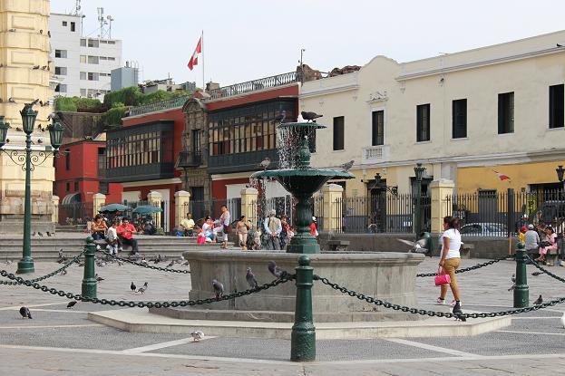 ボリビア・ペルー旅行:リマ 市内観光 サンフランシスコ教会・修道院 噴水