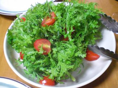 わさび菜とミニトマトのサラダ