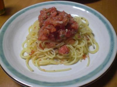 生トマトの冷製パスタ