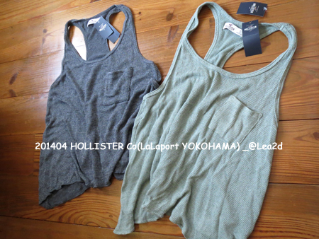 2014年4月  HOLLISTER Co(Point Vicente Drapey Knit Tank - GREY & OLIVE