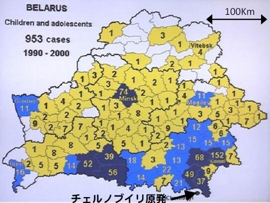 チェルノブイリ原発事故後のベラルーシ共和国の各自治体における小児甲状腺がん発生数