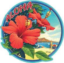 ハワイアン雑貨Locottsu-ハワイアンステッカー hibiscus