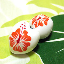 ハワイアン雑貨Locottsu-ペイントククイ オレンジ・ホワイト