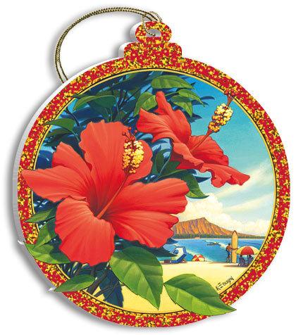 ハワイアン雑貨Locottsu-ハワイアンクリスマスオーナメント red hibiscus