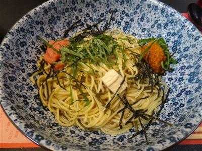 鶏肉と湯葉の和風ペペロンチーノ