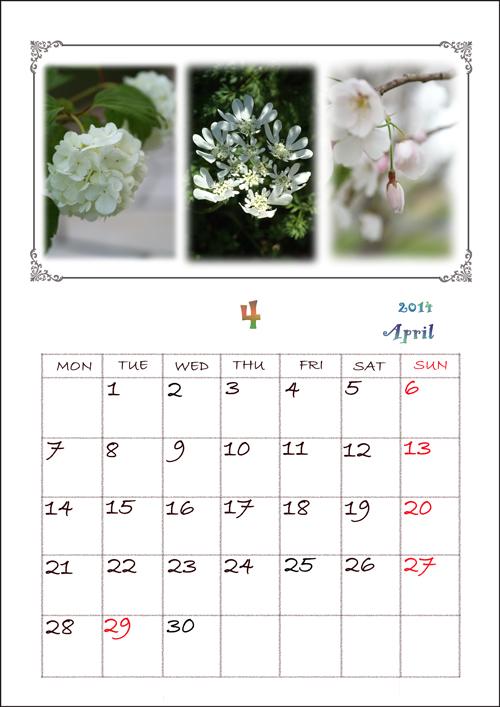 A4カレンダー日付4月web用枠あり
