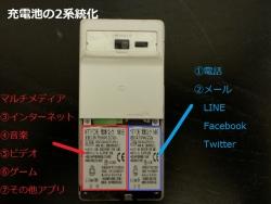 携帯・スマホの充電池2系統化