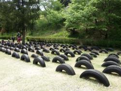 みやま公園の児童広場のタイヤ軍団