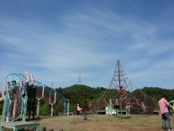 みやま公園のわんぱく広場のアスレチック