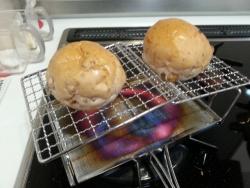 fanマルチトースターで小さいパンを焼く