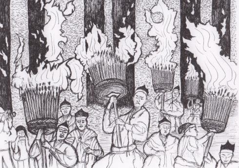 ペン画那智の火祭り