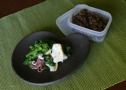 菜花とヤリイカの酢味噌と蕗味噌