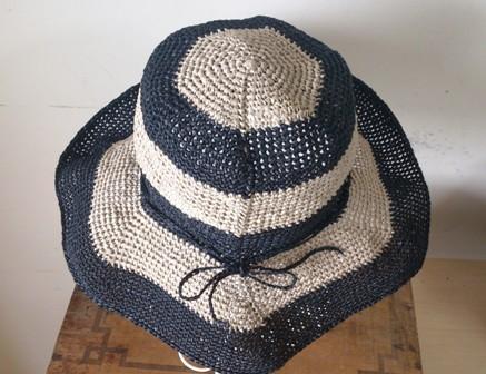 和紙のつば広帽子 六角しましま(193) 2