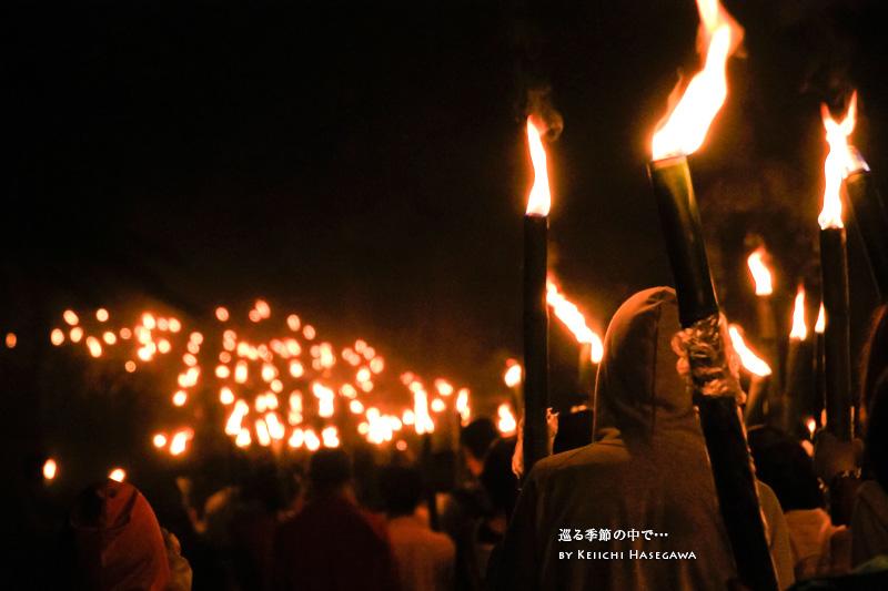 山陰 鳥取県 大山町 大山寺 夏山開き祭り たいまつ行列
