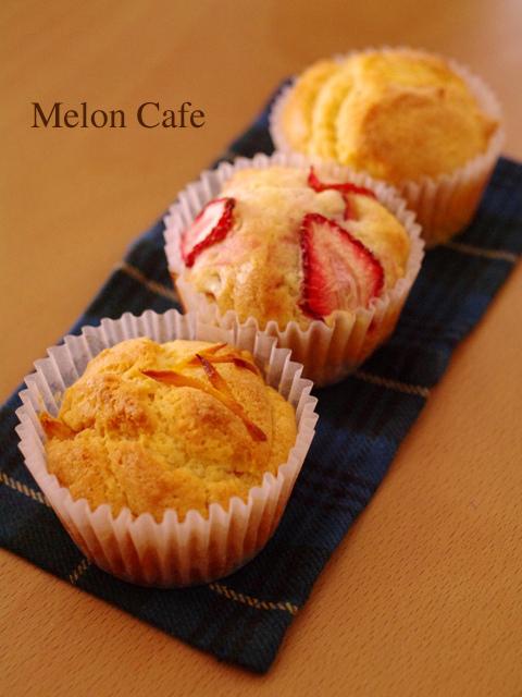 ホットケーキミックスで簡単一度に3種のフルーツカップケーキa