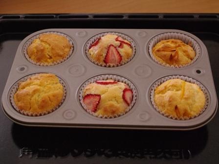 ホットケーキミックスで簡単一度に3種のフルーツカップケーキ09