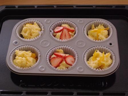 ホットケーキミックスで簡単一度に3種のフルーツカップケーキ08