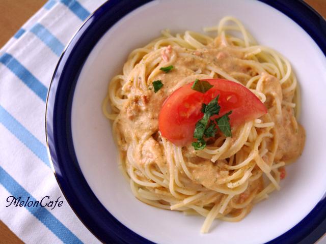 トマトまるごとマスカルポーネの冷製パスタ簡単ひんやりランチ