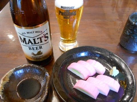 ビールと板わさ